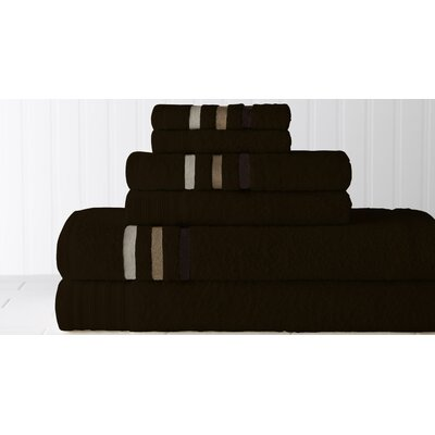 Jewel Tone Ombre Stripe 6 Piece Towel Set Color: Chocolate