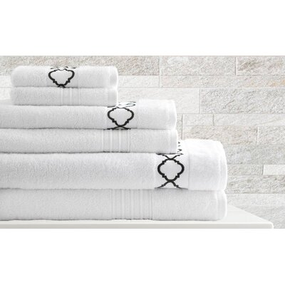 Quatrefoil 6 Piece Towel Set Color: White