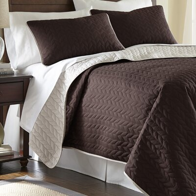 Carondelet 3 Piece Reversible Coverlet Set Size: King, Color: Deep Mahogany / Dew