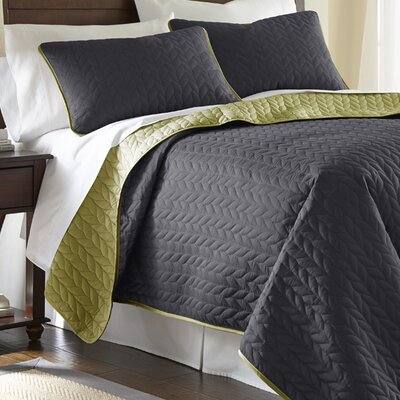 Carondelet 3 Piece Reversible Coverlet Set Size: King, Color: Steel Gray / Bamboo
