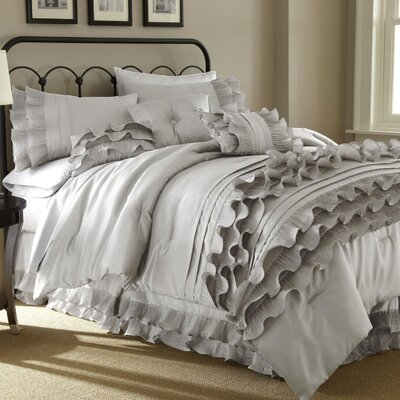 Alecia 8 Piece Comforter Set Size: Queen, Color: Pearl