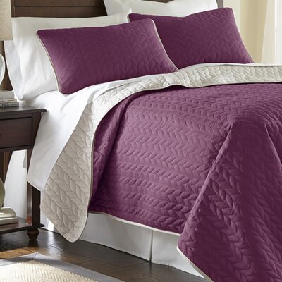 Carondelet 3 Piece Reversible Coverlet Set Size: Queen, Color: Violet Quartz / Parchment