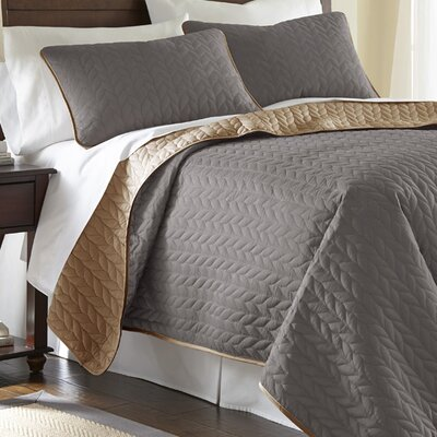 Carondelet 3 Piece Reversible Coverlet Set Size: Queen, Color: Atmosphere / Hazel