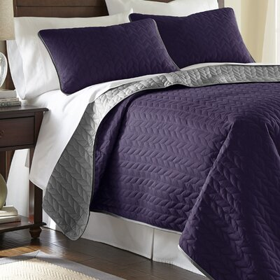 Carondelet 3 Piece Reversible Coverlet Set Size: King, Color: Vintage Violet / Silver