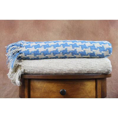 Houndstooth Cotton Throw Color: Ivory / Blue