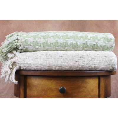 Houndstooth Cotton Throw Color: Ivory / Lime