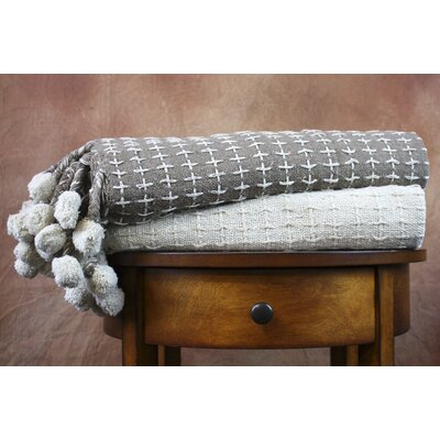 Cross Stitch Cotton Throw Blanket Color: Ivory / Taupe
