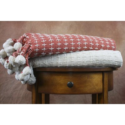 Cross Stitch Cotton Throw Blanket Color: Ivory / Spice