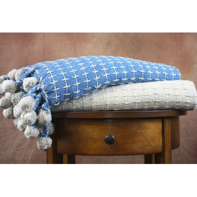 Cross Stitch Cotton Throw Blanket Color: Ivory / Sky
