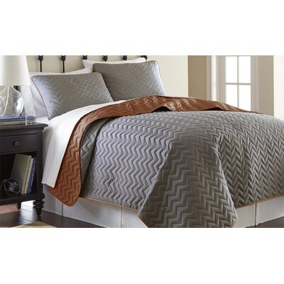 3 Piece Reversible Coverlet Set Size: King, Color: Atmosphere / Hazel