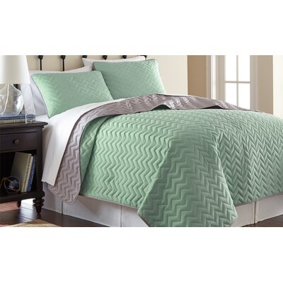 3 Piece Reversible Coverlet Set Size: Queen, Color: Jade / Atmosphere