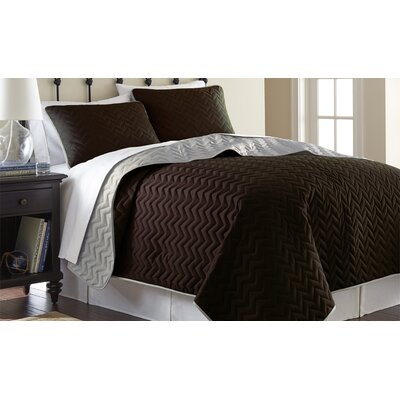 3 Piece Reversible Coverlet Set Size: Queen, Color: Deep Mahogany / Dew