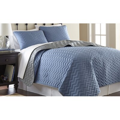 3 Piece Reversible Coverlet Set Size: Queen, Color: Denim / Silver