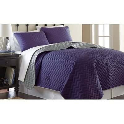 3 Piece Reversible Coverlet Set Size: King, Color: Vintage Violet / Silver