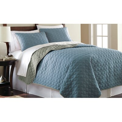 3 Piece Reversible Coverlet Set Size: King, Color: Denim and Silver
