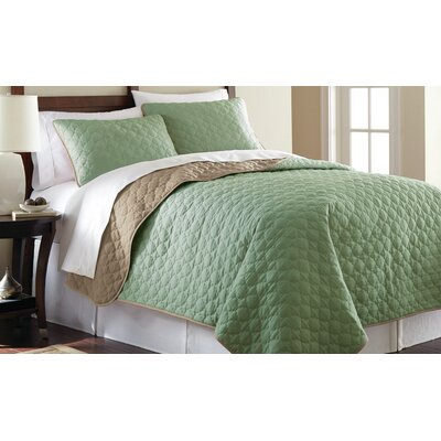 3 Piece Reversible Coverlet Set Size: King, Color: Jade and Atmosphere