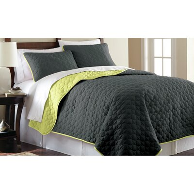 3 Piece Reversible Coverlet Set Size: King, Color: Steel Gray and Bamboo