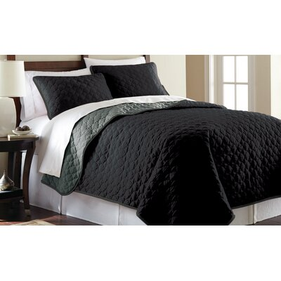 3 Piece Reversible Coverlet Set Size: Queen, Color: Black and Gray