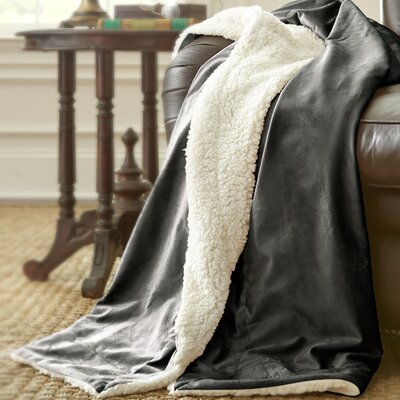 Sherpa Micro Mink Reverse Throw Color: Charcoal