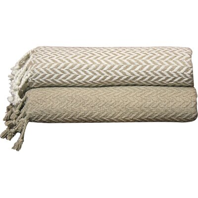 Cevenola Cotton Throw Blanket Color: Taupe