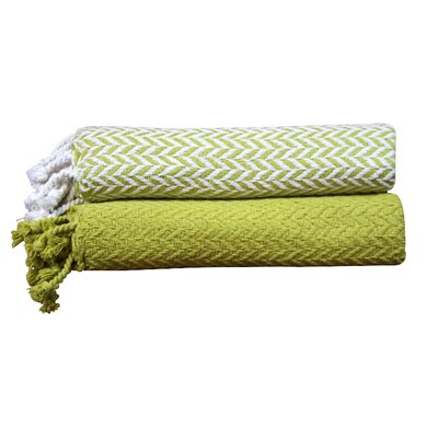 Cevenola Cotton Throw Blanket Color: Jade