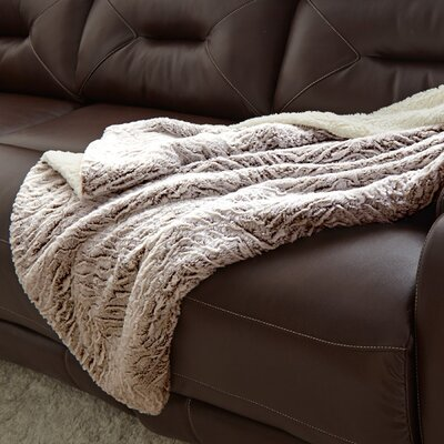 Adreanna Reverse Throw Blanket Color: Chocolate