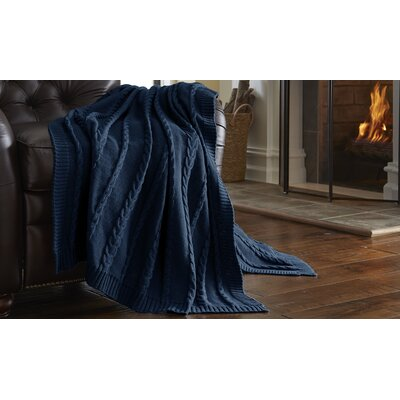 Sweater Knit Throw Blanket Color: Denim Blue