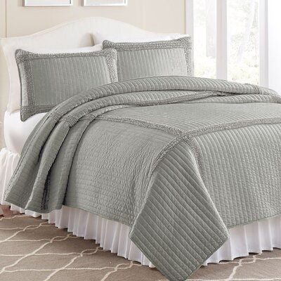 3 Piece Solid Frame Square Quilt Set Color: Gray, Size: Twin