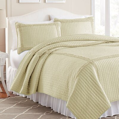 3 Piece Quilt Set Color: Antique White, Size: Twin
