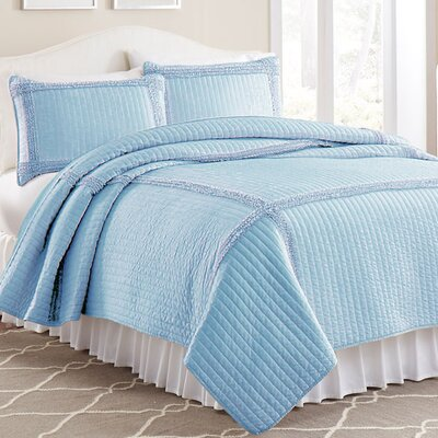 3 Piece Solid Frame Square Quilt Set Color: Blue, Size: Twin