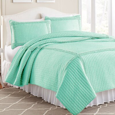 3 Piece Solid Frame Square Quilt Set Color: Aqua, Size: King