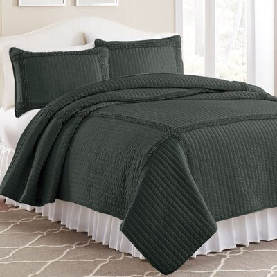 3 Piece Solid Frame Square Quilt Set Color: Charcoal, Size: Twin