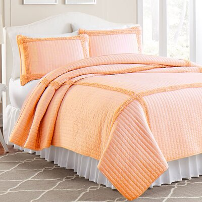 3 Piece Solid Frame Square Quilt Set Color: Peach, Size: King
