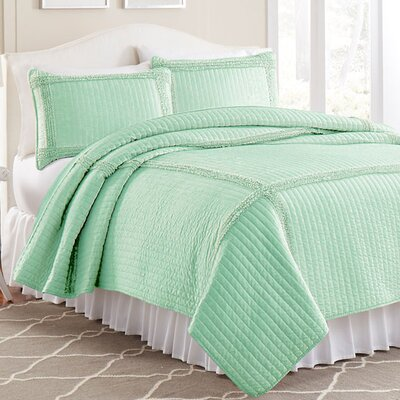 3 Piece Quilt Set Color: Jade, Size: King