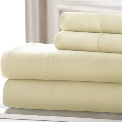 3 Piece 220 Thread Count Bamboo Rayon Rich Sheet Set Color: Ivory