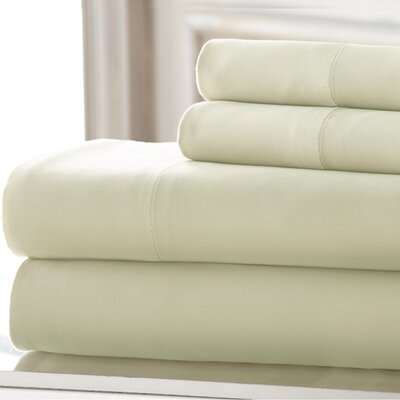 4 Piece 220 Thread Count Rayon Rich Sheet Set Size: King, Color: White