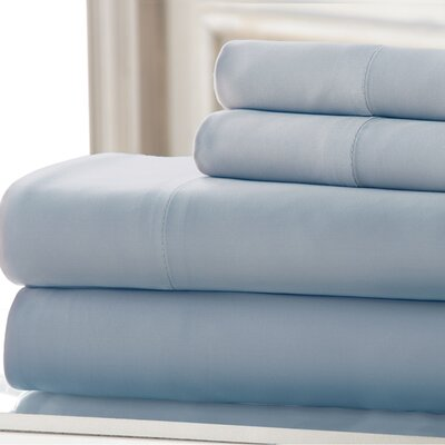 3 Piece 220 Thread Count Rayon from Bamboo Rich Sheet Set Color: Light Blue