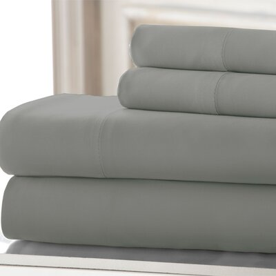 3 Piece 220 Thread Count Rayon from Bamboo Rich Sheet Set Color: Gray