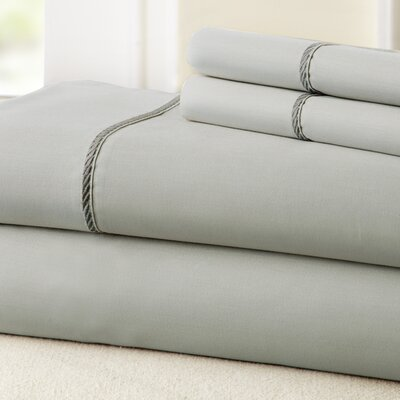 4 Piece 400 Thread Count 100% Cotton Sheet Set Size: California King, Color: Silver / Charcoal