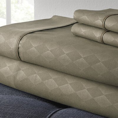 Kensington Hotel Diamond 3 Piece Embossed Sheet Set Size: King, Color: Taupe