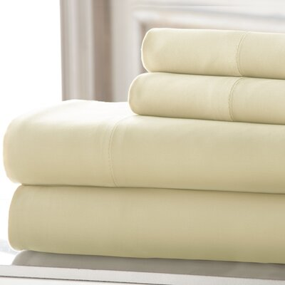 4 Piece 220 Thread Count Rayon Rich Sheet Set Size: California King, Color: Ivory