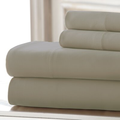 4 Piece 220 Thread Count Rayon Rich Sheet Set Size: California King, Color: Beige