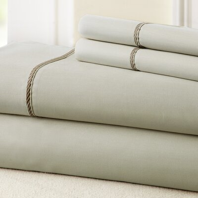 4 Piece 400 Thread Count 100% Cotton Sheet Set Color: Linen / Mocha, Size: Full