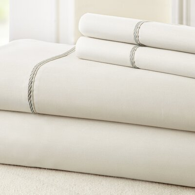 4 Piece 400 Thread Count 100% Cotton Sheet Set Size: Queen, Color: White / Gray