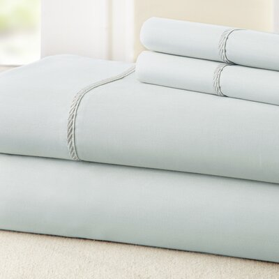 4 Piece 400 Thread Count 100% Cotton Sheet Set Color: Blue / White, Size: Queen