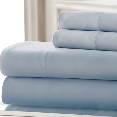 4 Piece 220 Thread Count Rayon Rich Sheet Set Size: California King, Color: Light Blue
