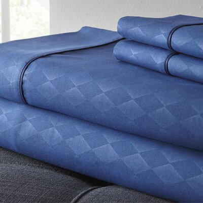 Kensington Hotel Diamond 3 Piece Embossed Sheet Set Size: King, Color: Navy
