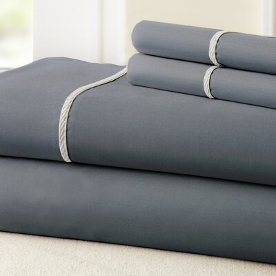 4 Piece 400 Thread Count 100% Cotton Sheet Set Size: Full, Color: Charcoal / White