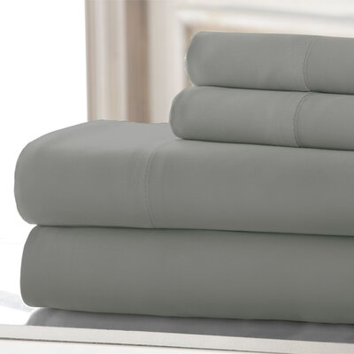 4 Piece 220 Thread Count Rayon Rich Sheet Set Size: King, Color: Gray
