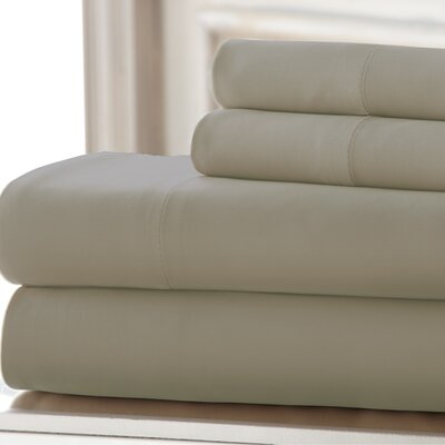 3 Piece 220 Thread Count Rayon from Bamboo Rich Sheet Set Color: Beige